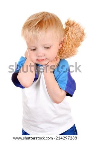 Sad Baby Boy Isolated on the White Background - stock photo
