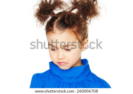 sad baby girl with beautiful hair  - stock photo