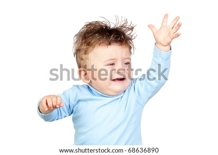 Sad baby isolated on white background - stock photo