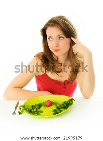 sad beautiful young brunette woman keeping a diet siolated against white background