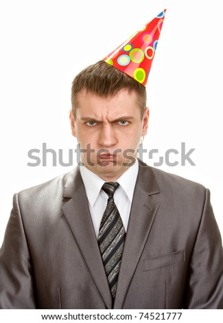 Sad birthday businessman in hat isolated on white