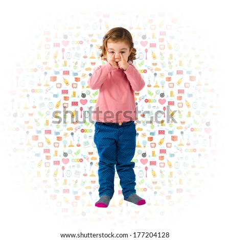 Sad blonde baby over white background with icons. - stock photo