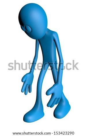 sad blue guy - 3d illustration - stock photo
