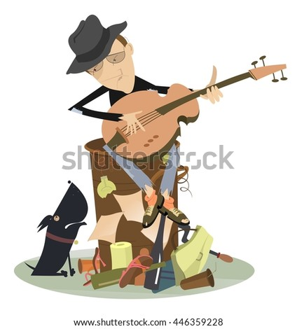 Sad blues or jazz man plays guitar. Beggar is sitting on pile of garbage and playing guitar for his dog  - stock photo
