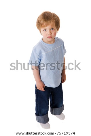 Sad Boy looking up laughing isolated on white