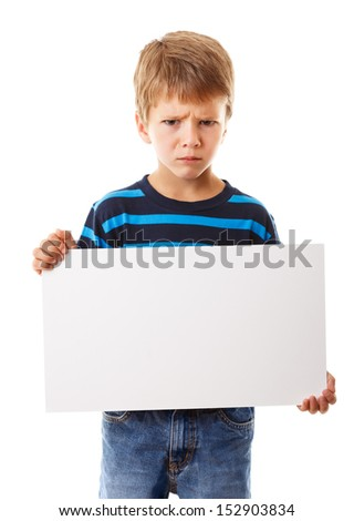 Sad boy standing with empty horizontal blank in hands, isolated on white - stock photo