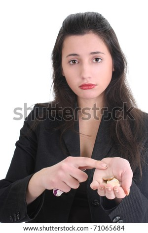 Sad business woman counts the money over white - stock photo