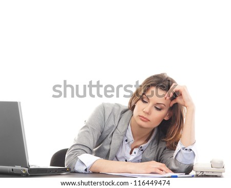 Sad business woman in office isolated on white - stock photo