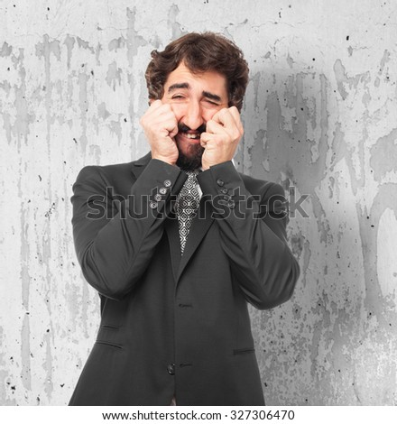 sad businessman crying
