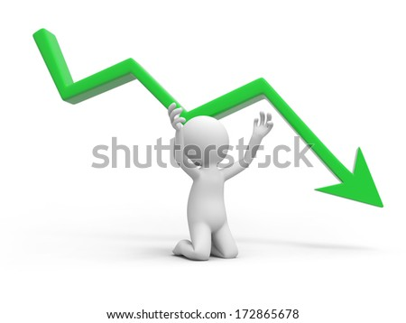 sad businessman kneeling with falling graph