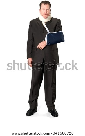 Sad Caucasian elderly man with short medium brown hair in business formal outfit being sick - Isolated - stock photo