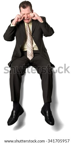 Sad Caucasian elderly man with short medium brown hair in business formal outfit crying - Isolated