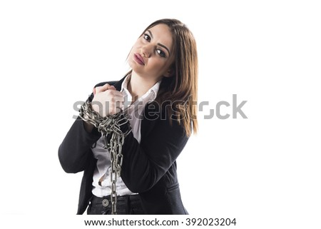 Sad chained worker isolated on white background  - stock photo