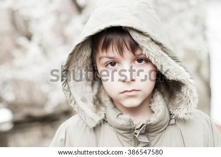 sad child - stock photo