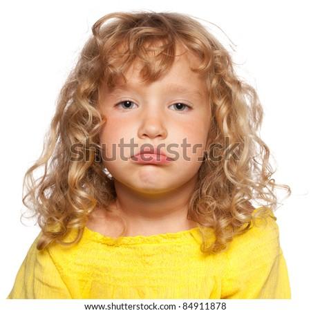 Sad child isolated on white - stock photo