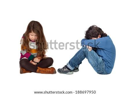 Sad children isolated on a white background - stock photo