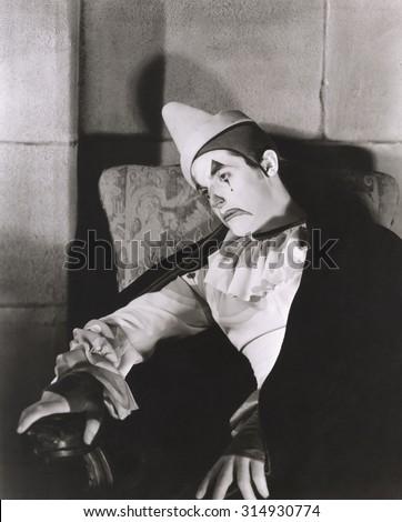 Sad clown - stock photo