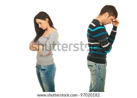 Sad couple having conflict isolated onw hite background - stock photo