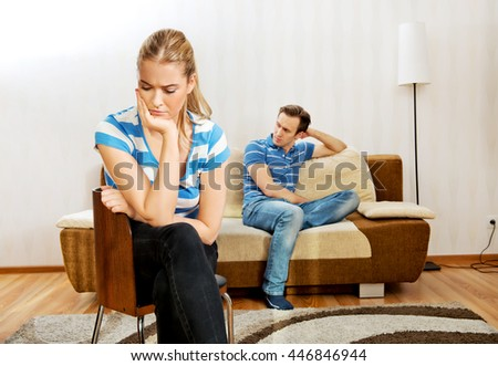 Sad couple not talking after fight - stock photo