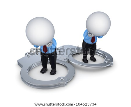 Sad 3d small people and iron handcuff.Isolated on white background. - stock photo