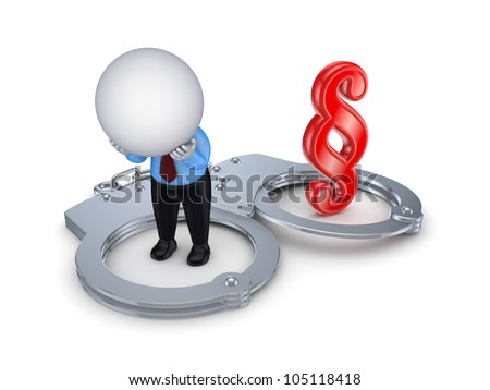 Sad 3d small person, handcuff and red paragraph sign.Isolated on white background. - stock photo