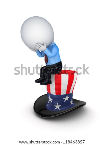 Sad 3d small person sitting on a hat of Uncle Sam.Isolated on white background.