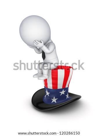 Sad 3d small person sitting on a hat of Uncle Sam.Isolated on white background. - stock photo