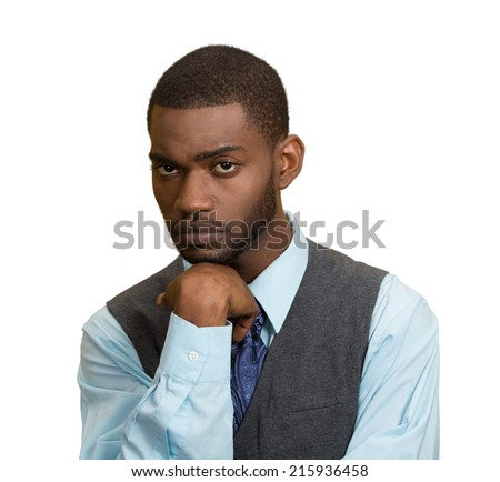 Sad, depressed. Closeup portrait gloomy,  alone, disappointed business man isolated white background. Human facial expressions, emotions, feelings, life perception, body language - stock photo