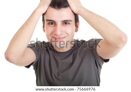 sad depressed young man crying, conceptual picture regarding emotional, financial or violence problems (isolated on white) - stock photo