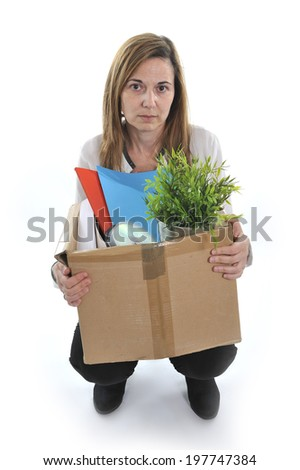 Sad Desperate Business Woman on her 40s in stress carrying Cardboard Box  with office stuff Fired from Job for Financial Crisis facing unemployment issue isolated on White background