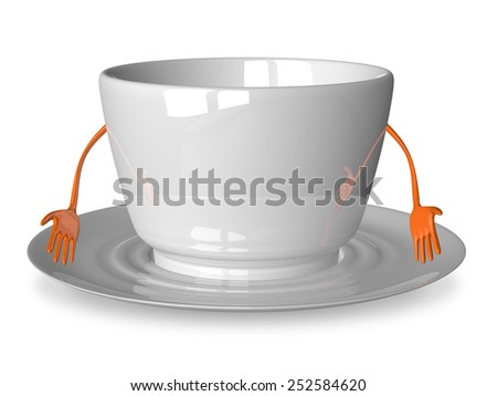 Sad empty cup character on saucer isolated on white - stock photo