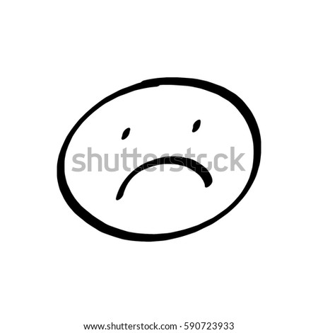 Sad face drawing on white background