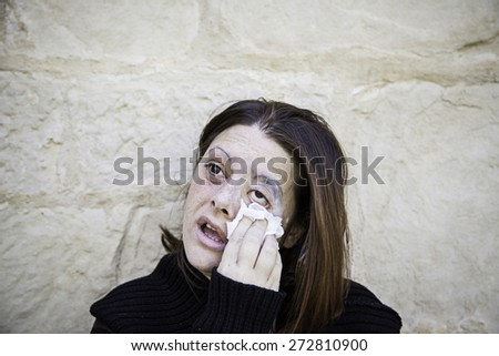 Sad Girl beaten, gender violence - stock photo