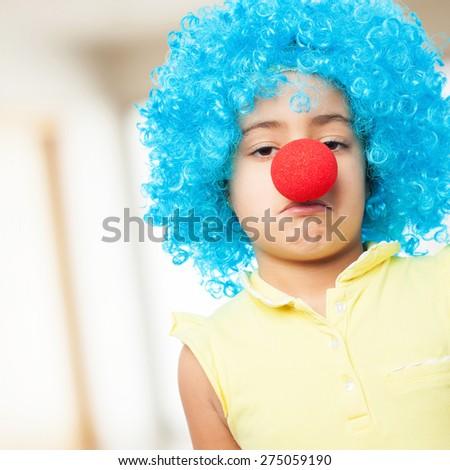 sad girl clown - stock photo