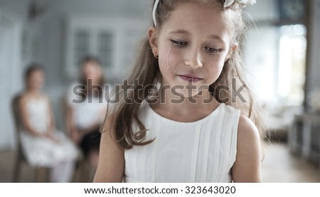 Sad girl crying - stock photo