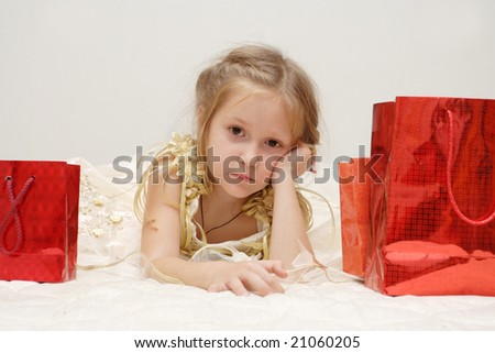 sad girl just received her gifts looking at you