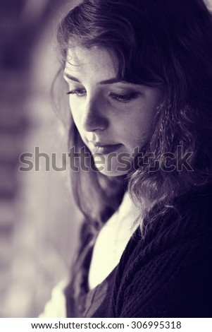 sad girl portrait - stock photo