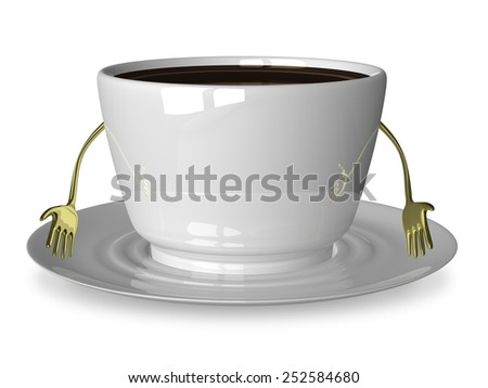 Sad glossy white cup of coffee or tea character on saucer isolated on white - stock photo