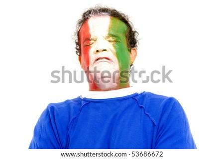 Sad Italian sport fan crying so much . - stock photo