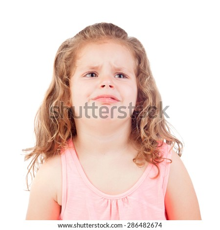 Sad little girl crying isolated on a white background
