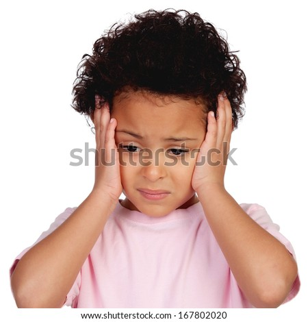 Sad little girl with head ache isolated on a white background - stock photo
