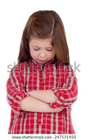 Sad little girl with red plaid shirt isolated on a white background - stock photo