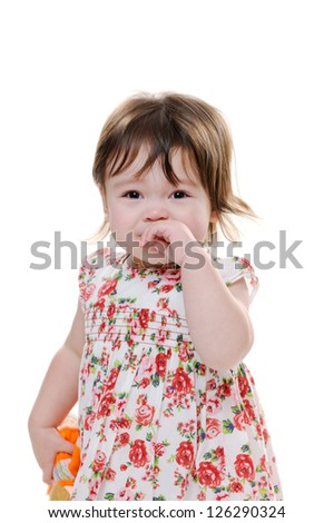 Sad littler girl crying and looking upset - stock photo