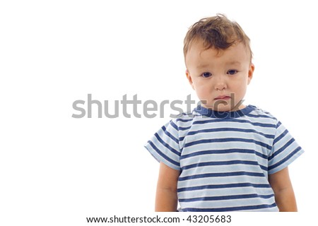 Sad lonely baby boy with running rose isolated over a white background, a lot of copyspace - stock photo