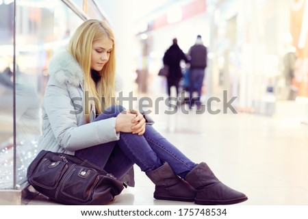 sad lonely girl - stock photo