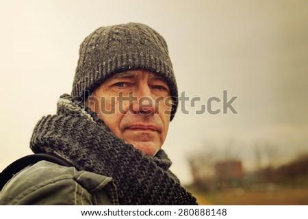 Sad man, flu, cold - stock photo