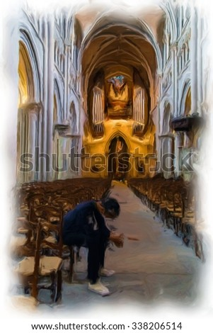 Sad man in church - digital oil painting - stock photo