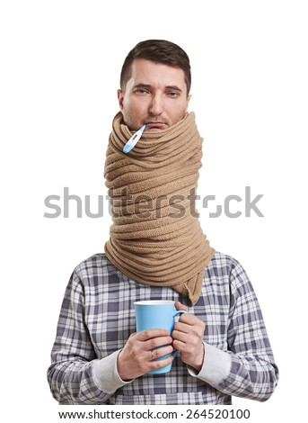 sad man in scarf have a flu. isolated on white background - stock photo