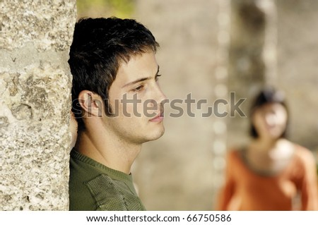 sad man waiting for his girlfriend - stock photo