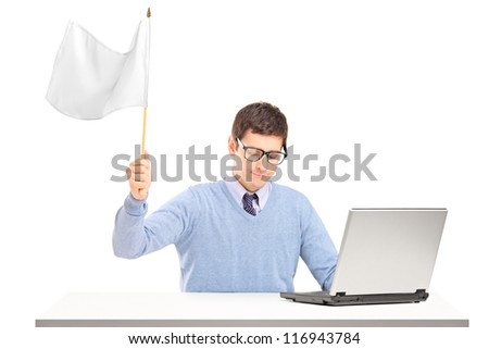 Sad man waving a white flag gesturing defeat isolated on white background - stock photo